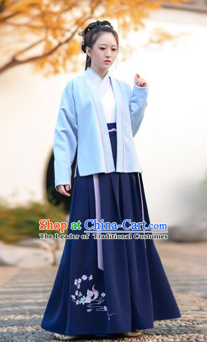 Traditional Chinese Song Dynasty Young Lady Hanfu Embroidered Clothing Complete Set for Women
