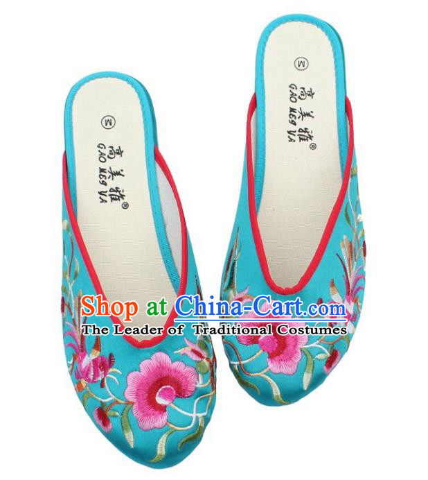 Traditional Chinese National Blue Satin Embroidered Shoes, China Handmade Embroidery Peony Hanfu Slippers for Women
