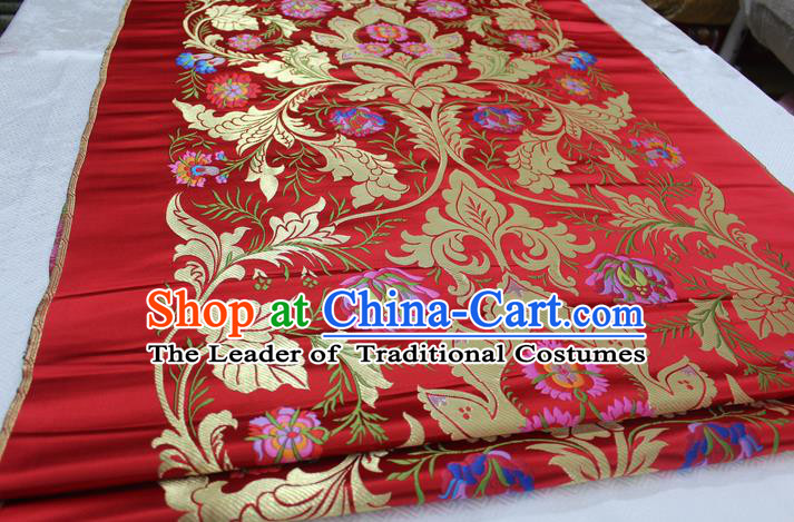 Chinese Traditional Ancient Costume Royal Palace Pattern Tang Suit Wedding Dress Red Brocade Cheongsam Satin Fabric Hanfu Material