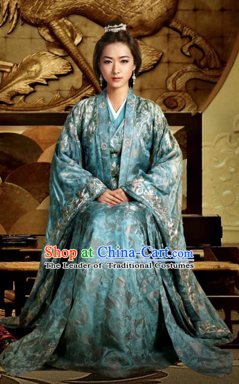 Traditional Ancient Chinese Tang Dynasty Palace Senior Concubine Embroidered Dress Costume and Headpiece Complete Set for Women