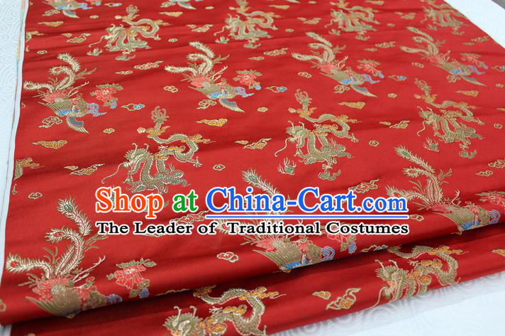 Chinese Traditional Ancient Costume Royal Palace Dragon Phoenix Pattern Mongolian Robe Red Brocade Wedding Dress Satin Fabric Hanfu Material