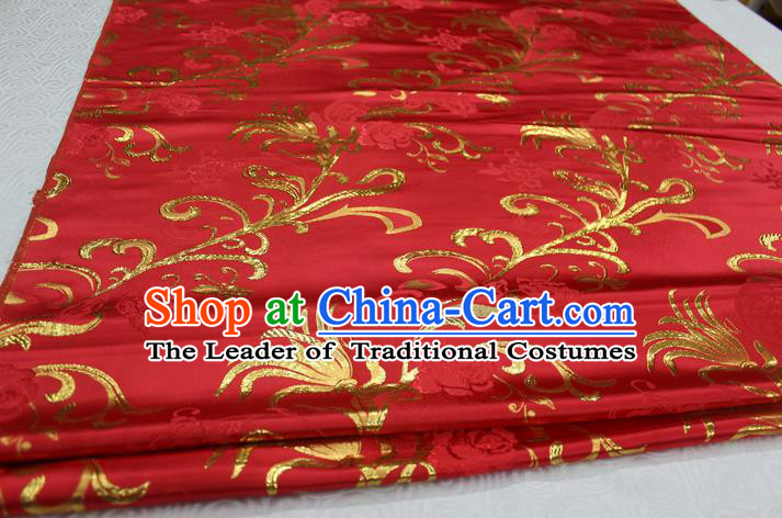 Chinese Traditional Wedding Clothing Palace Pattern Xiuhe Suit Red Brocade Ancient Costume Satin Fabric Hanfu Material