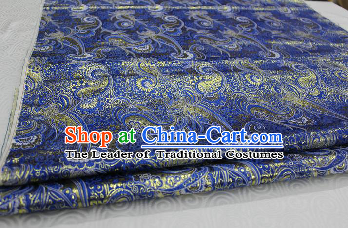 Chinese Traditional Ancient Costume Royal Palace Pattern Mongolian Robe Royalblue Brocade Cheongsam Satin Fabric Hanfu Material