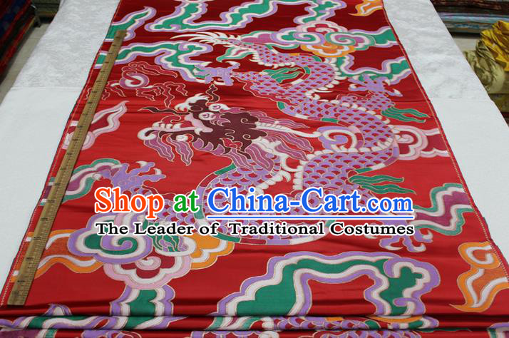 Chinese Traditional Ancient Costume Royal Palace Dragon Pattern Mongolian Robe Red Brocade Cheongsam Satin Fabric Hanfu Material