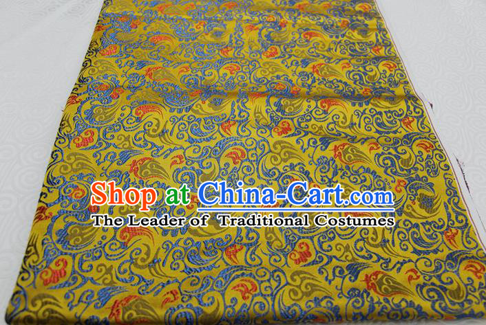Chinese Traditional Ancient Costume Royal Palace Pattern Mongolian Robe Yellow Brocade Xiuhe Suit Wedding Dress Satin Fabric Hanfu Material