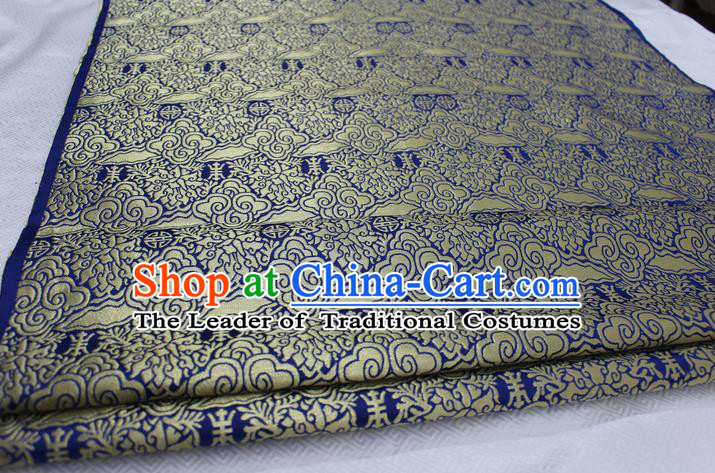 Chinese Traditional Ancient Costume Mongolian Robe Royalblue Brocade Palace Cloud Pattern Tang Suit Satin Fabric Hanfu Material