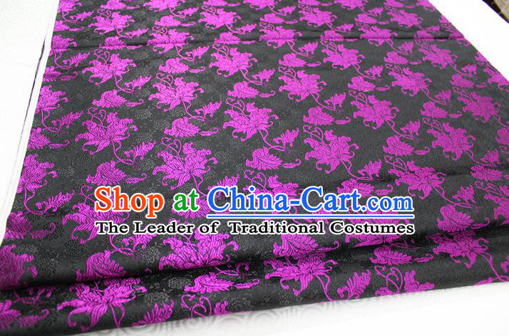 Chinese Traditional Ancient Costume Tang Suit Cheongsam Black Brocade Palace Pattern Satin Fabric Hanfu Material