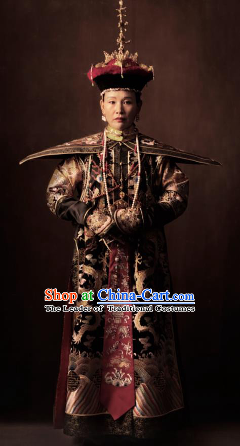 Traditional Ancient Chinese Qing Dynasty Manchu Lady Empress Dowager Embroidered Costume and Headpiece Complete Set