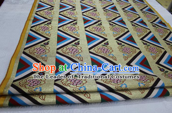 Chinese Traditional Clothing Palace Pattern Tang Suit Brocade Ancient Costume Mongolian Robe Satin Fabric Hanfu Material