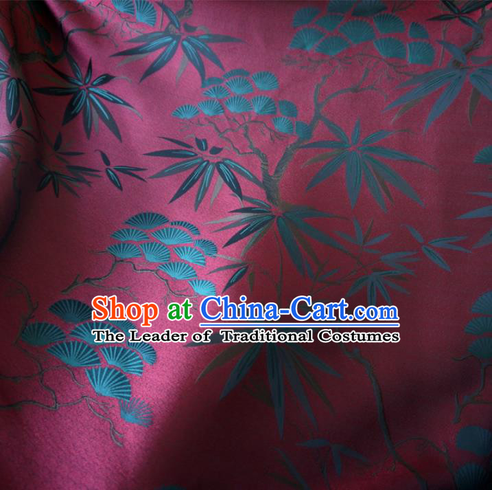 5cde04b72c4 Chinese Traditional Clothing Royal Court Pine Bamboo Pattern Tang Suit Wine Red  Brocade Ancient Costume Cheongsam Satin Fabric Hanfu Material