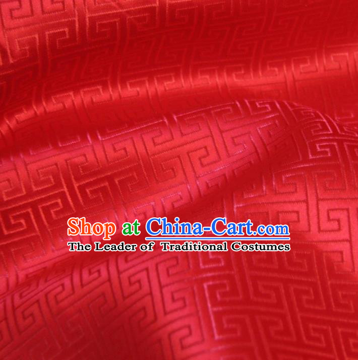 Chinese Traditional Royal Court Pattern Red Brocade Ancient Costume Tang Suit Cheongsam Bourette Fabric Hanfu Material