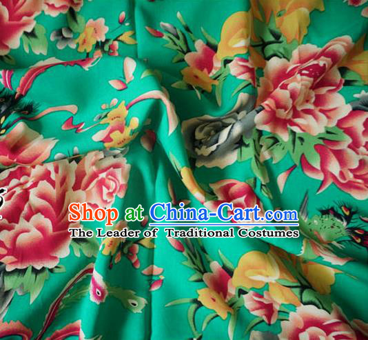 Chinese Traditional Royal Court Peony Pattern Green Cotton Fabric Ancient Costume Tang Suit Cheongsam Hanfu Material