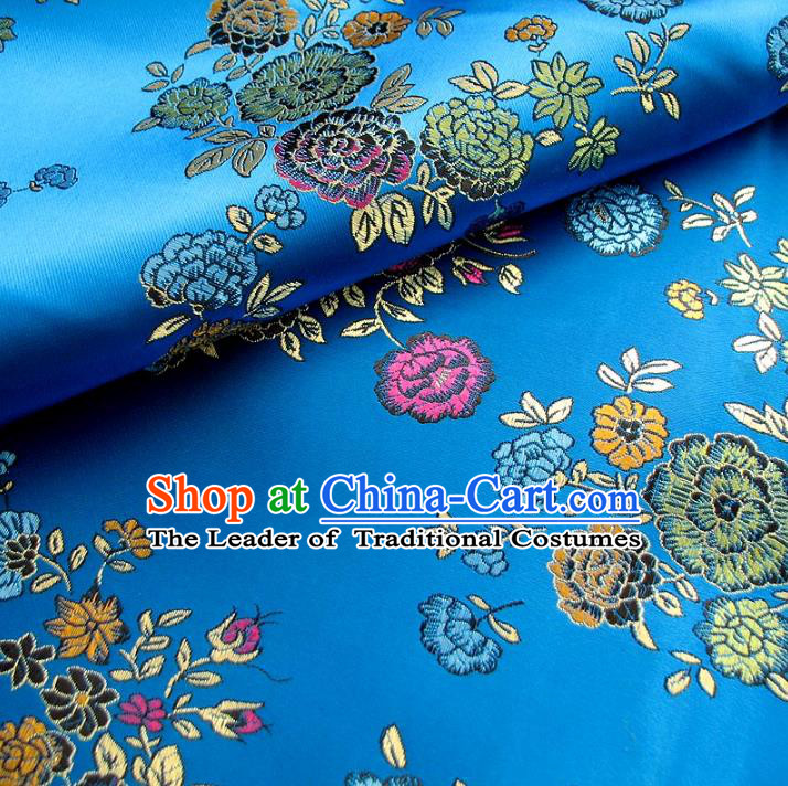 Chinese Traditional Royal Court Flowers Blue Brocade Xiuhe Suit Fabric Ancient Costume Tang Suit Cheongsam Hanfu Material