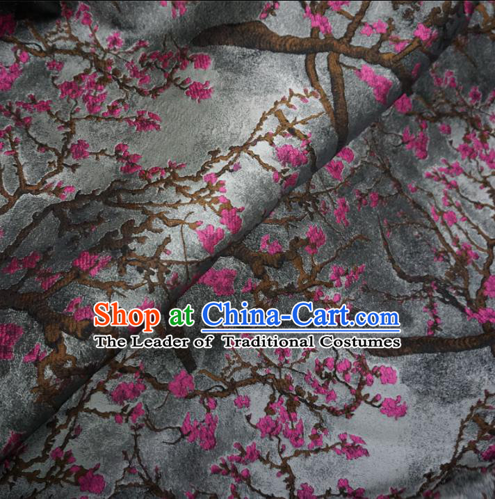 Chinese Traditional Royal Court Wintersweet Pattern Grey Brocade Xiuhe Suit Fabric Ancient Costume Tang Suit Cheongsam Hanfu Material