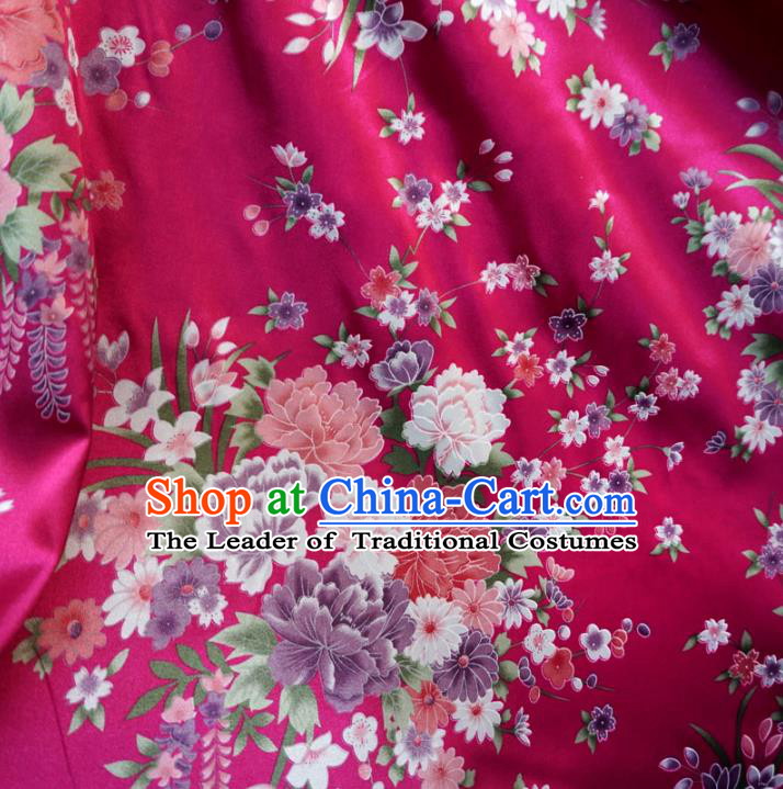 Chinese Traditional Royal Court Printing Flowers Pattern Rosy Brocade Xiuhe Suit Fabric Ancient Costume Tang Suit Cheongsam Hanfu Material