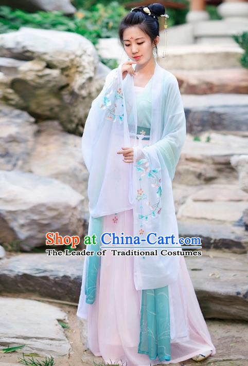 Traditional Chinese Tang Dynasty Palace Lady Wide Sleeve Cloak Hanfu Embroidered Costume for Women