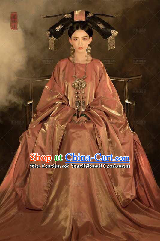 Chinese Ancient Empress Clothing Necklace Hair Accessories and Wigs Complete Set
