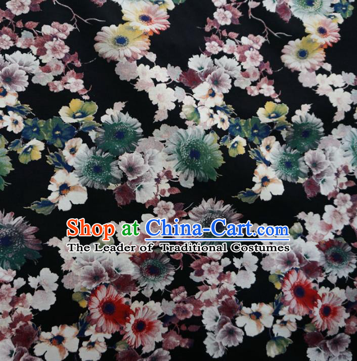 Chinese Traditional Ink Painting Black Brocade Xiuhe Suit Fabric Ancient Costume Tang Suit Cheongsam Hanfu Material