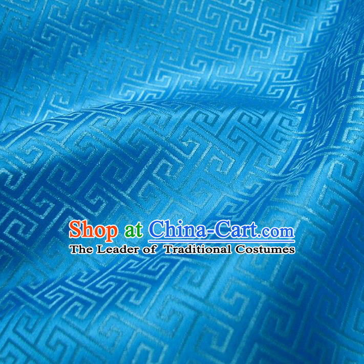 Chinese Traditional Royal Palace Pattern Design Blue Brocade Xiuhe Suit Fabric Ancient Costume Tang Suit Cheongsam Hanfu Material