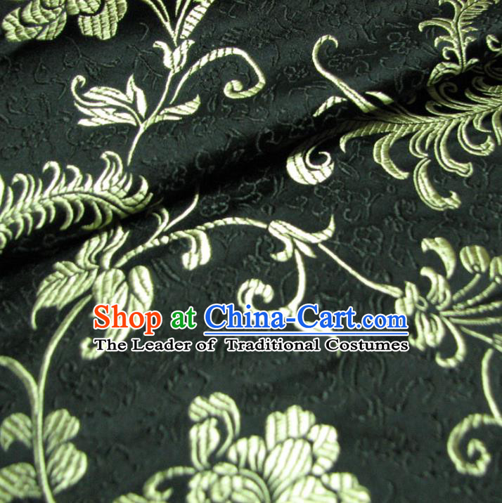 Chinese Traditional Royal Palace Pattern Design Black Brocade Mongolian Robe Fabric Ancient Costume Tang Suit Cheongsam Hanfu Material