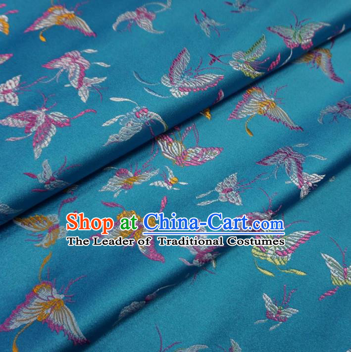 Chinese Traditional Royal Palace Butterfly Pattern Design Blue Brocade Fabric Ancient Costume Tang Suit Cheongsam Hanfu Material