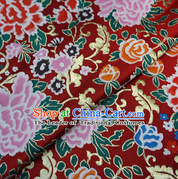 Chinese Traditional Royal Palace Peony Pattern Design Red Brocade Xiuhe Suit Fabric Ancient Costume Tang Suit Cheongsam Hanfu Material