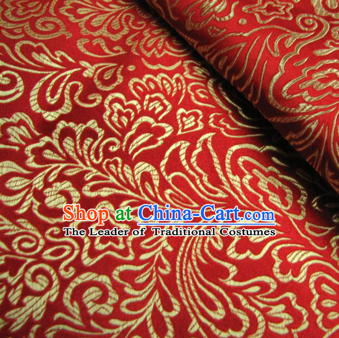 Chinese Traditional Royal Palace Pattern Design Hanfu Red Brocade Fabric Ancient Costume Tang Suit Cheongsam Material