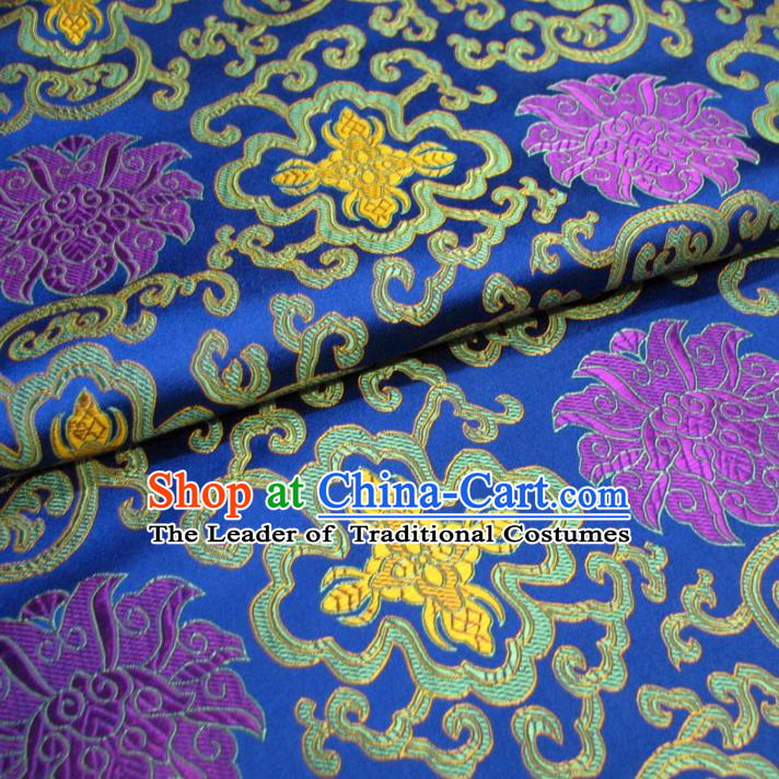 Chinese Traditional Palace Pattern Hanfu Royalblue Brocade Mongolian Robe Fabric Ancient Costume Tang Suit Cheongsam Material