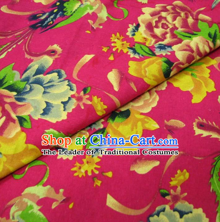 Chinese Traditional Palace Phoenix Peony Pattern Hanfu Rosy Cotton Fabric Ancient Costume Tang Suit Cheongsam Material