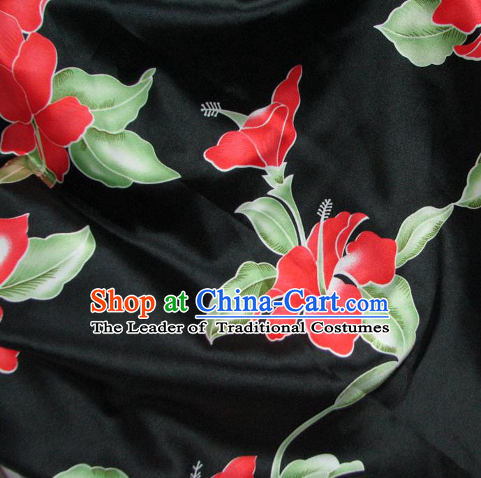 Chinese Traditional Palace Pattern Design Hanfu Black Brocade Fabric Ancient Costume Tang Suit Cheongsam Material