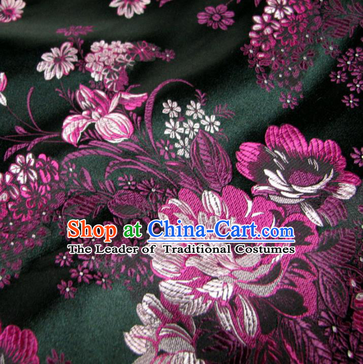 Chinese Traditional Palace Flowers Pattern Design Hanfu Black Brocade Fabric Ancient Costume Tang Suit Cheongsam Material