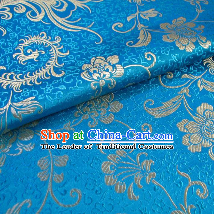 Chinese Traditional Palace Ombre Flowers Pattern Design Hanfu Blue Brocade Fabric Ancient Costume Tang Suit Cheongsam Material