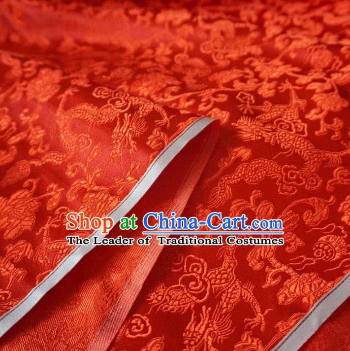 Chinese Traditional Palace Dragons Pattern Hanfu Red Brocade Fabric Ancient Costume Tang Suit Cheongsam Material
