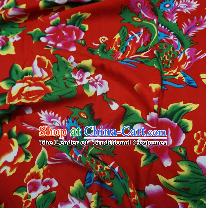 Chinese Traditional Palace Printing Flowers Pattern Hanfu Red Cotton Fabric Ancient Costume Tang Suit Cheongsam Material