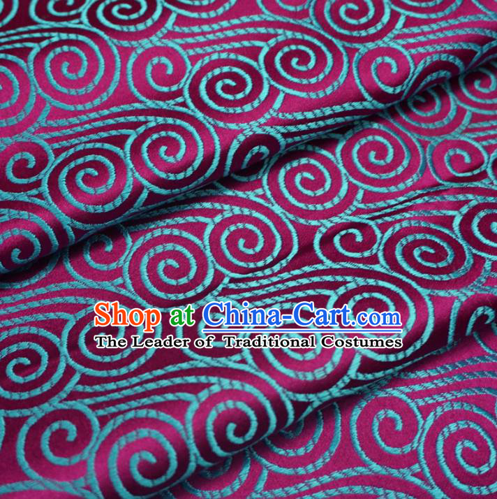 Chinese Traditional Palace Clouds Pattern Hanfu Red Brocade Fabric Ancient Costume Tang Suit Cheongsam Material