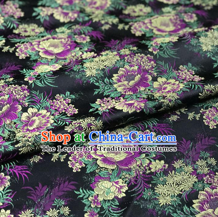 Chinese Traditional Palace Flowers Pattern Hanfu Black Brocade Fabric Ancient Costume Tang Suit Cheongsam Material