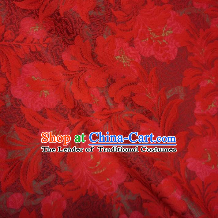 Chinese Traditional Palace Flowers Pattern Hanfu Red Lace Brocade Fabric Ancient Costume Tang Suit Cheongsam Material