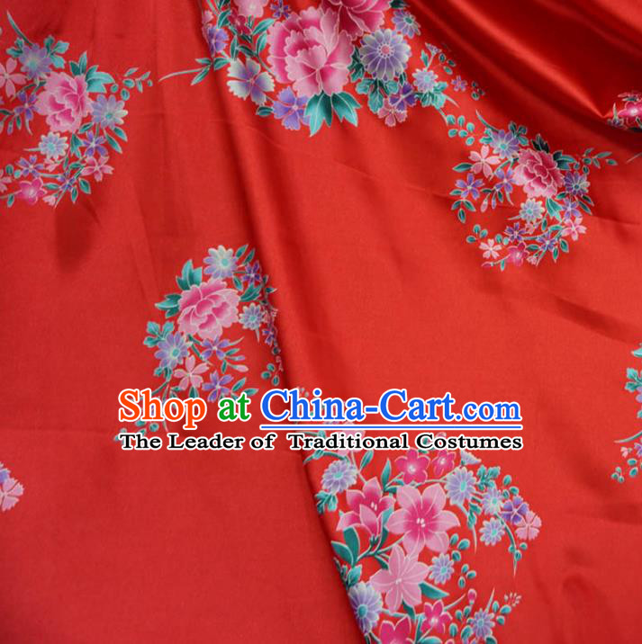 Chinese Traditional Palace Printing Peony Pattern Hanfu Red Brocade Fabric Ancient Costume Tang Suit Cheongsam Material