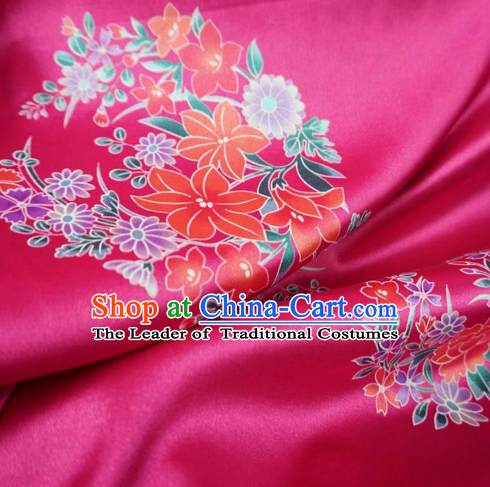 Chinese Traditional Palace Printing Flowers Pattern Hanfu Rosy Brocade Fabric Ancient Costume Tang Suit Cheongsam Material