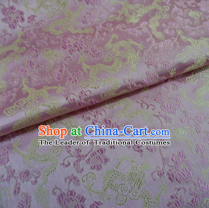 Chinese Traditional Palace Dragons Pattern Hanfu Pink Brocade Fabric Ancient Costume Tang Suit Cheongsam Material