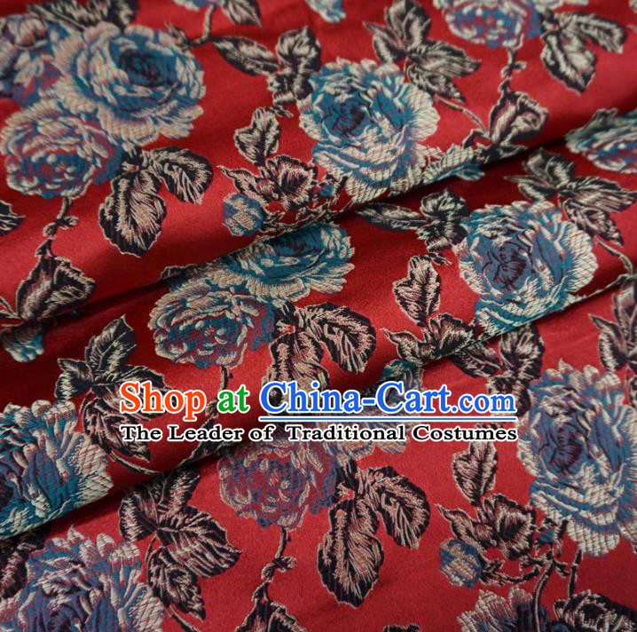 Chinese Traditional Palace Flowers Pattern Hanfu Red Brocade Fabric Ancient Costume Tang Suit Cheongsam Material