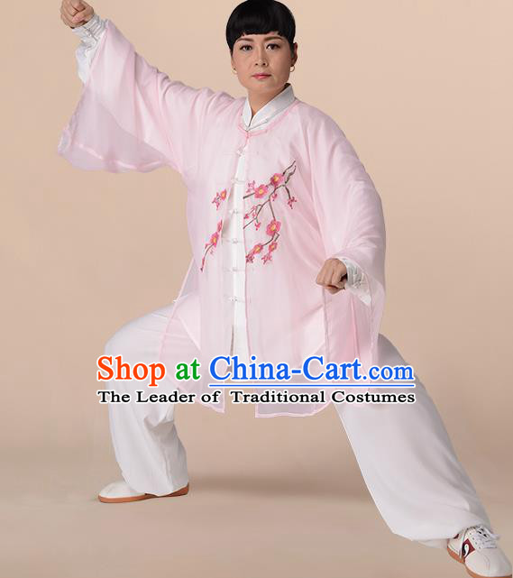 Traditional Chinese Kung Fu Costume Light Pink Chiffon Embroidered Cloak, China Martial Arts Tai Ji Mantillas Clothing for Women