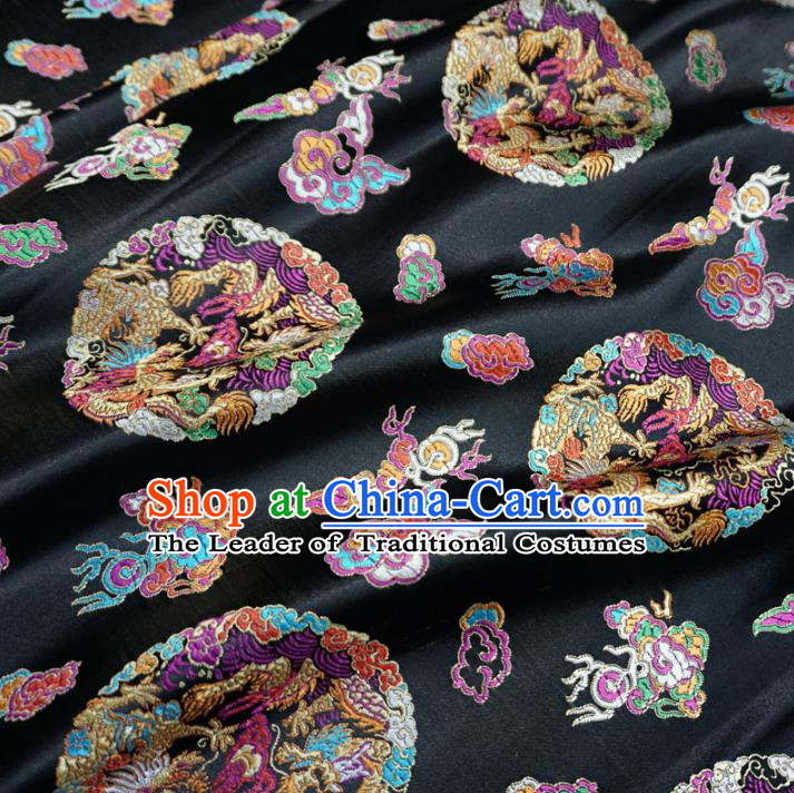 Chinese Traditional Palace Dragons Pattern Hanfu Black Brocade Fabric Ancient Costume Tang Suit Cheongsam Material