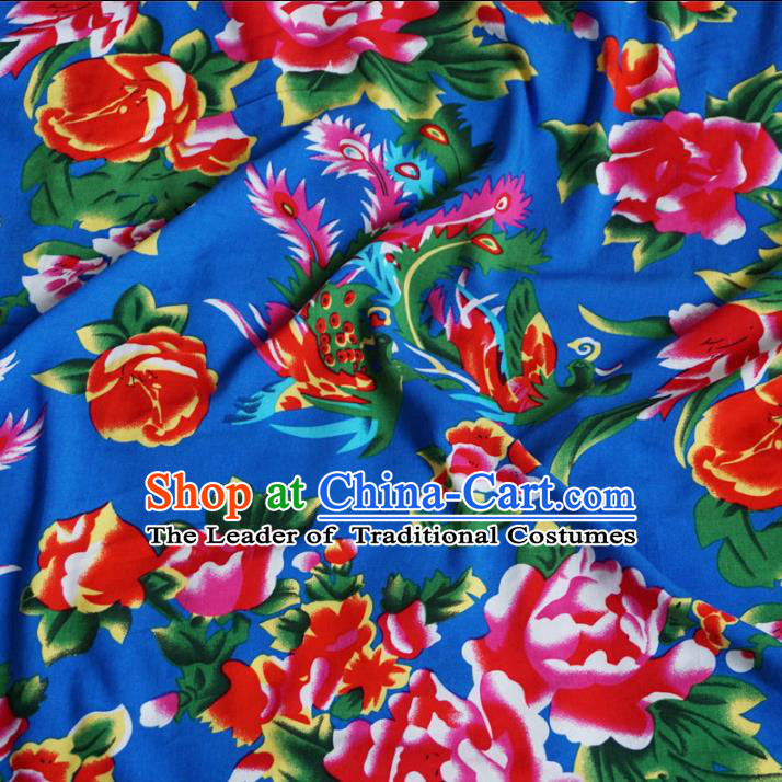 Chinese Traditional Palace Printing Phoenix Pattern Hanfu Blue Cotton Fabric Ancient Costume Tang Suit Cheongsam Material