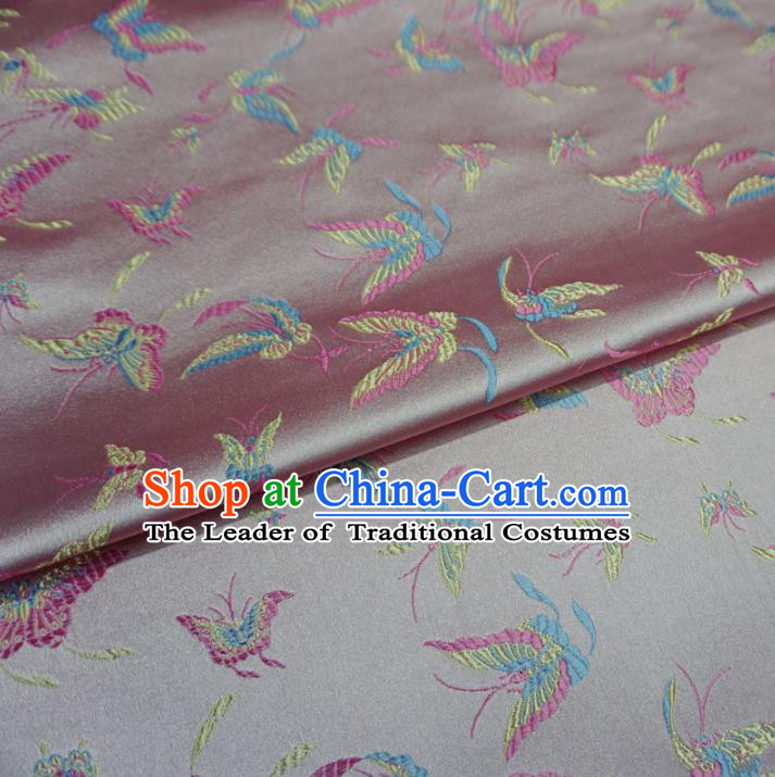 Chinese Traditional Palace Butterfly Pattern Hanfu Pink Brocade Fabric Ancient Costume Tang Suit Cheongsam Material