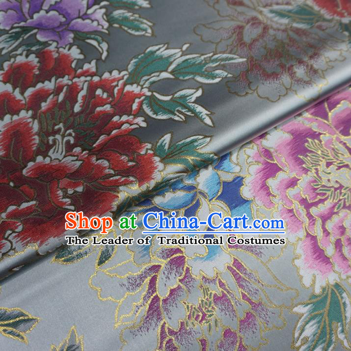 Chinese Traditional Palace Peony Pattern Hanfu Grey Brocade Qipao Fabric Ancient Costume Tang Suit Cheongsam Material