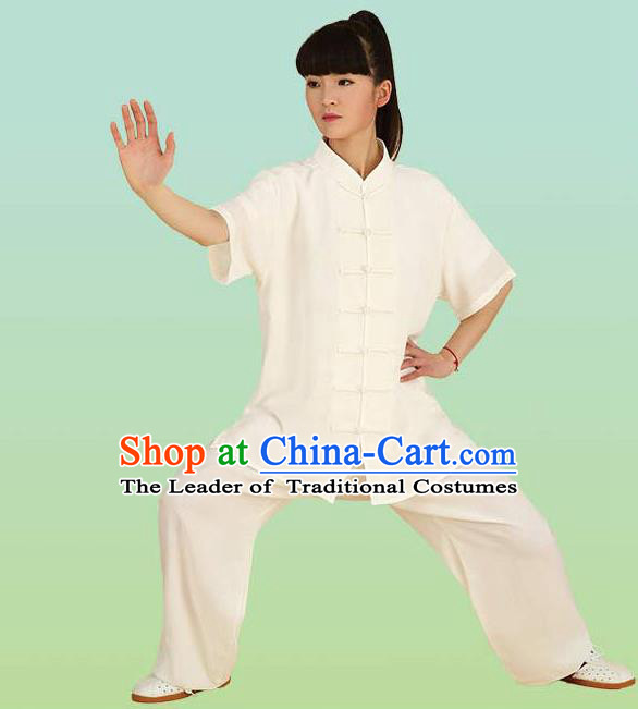 Chinese Linen Kung Fu Short Sleeve Costume, China Traditional Martial Arts Kung Fu Tai Ji Plated Buttons Uniform for Women
