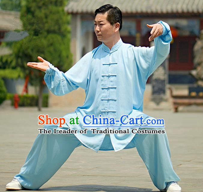 Chinese Kung Fu Plated Buttons Costume, Traditional Martial Arts Kung Fu Tai Ji Blue Uniform for Women for Men