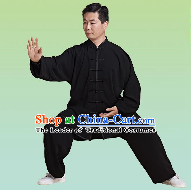 Top Grade Chinese Linen Kung Fu Costume, China Traditional Martial Arts Kung Fu Training Black Uniform Wushu Clothing for Adult