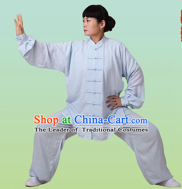 Top Grade Chinese Linen Kung Fu Costume, China Traditional Martial Arts Kung Fu Training Blue Uniform Wushu Clothing for Adult